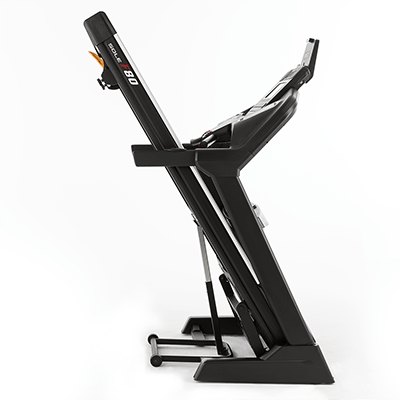 SOLE Fitness F80 treadmill in folded position.