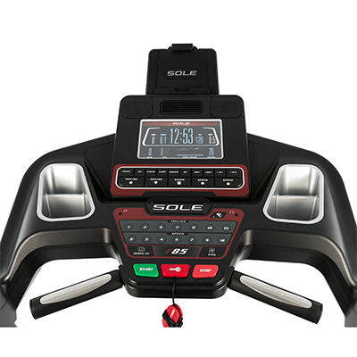 Sole Fitness F85 treadmill console.